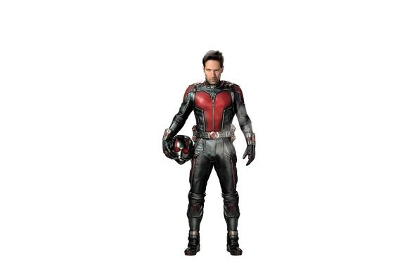 Картинка фантастика, костюм, белый фон, шлем, супергерой, marvel, комикс, Человек-муравей, Paul Rudd, Пол Радд, Ant-Man