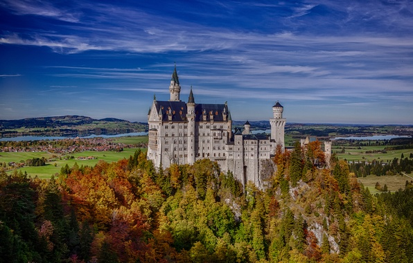 Картинка осень, лес, скала, Германия, Бавария, Germany, Bavaria, Neuschwanstein Castle, Замок Нойшванштайн