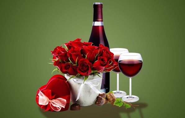 Картинка подарок, вино, розы, бокалы, glass, wine, flowers, romantic, gift, roses