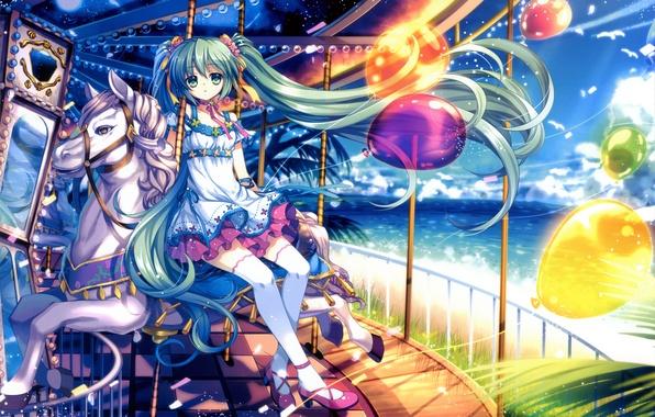Картинка море, небо, девушка, солнце, облака, лошадь, чайки, арт, аттракцион, Hatsune Miku, Vocaloid, Вокалоид, воздушные шарики, …