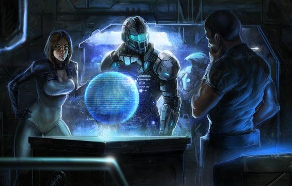 Картинка девушка, планета, арт, броня, парни, shepard, Mass Effect, miranda lawson, командный центр