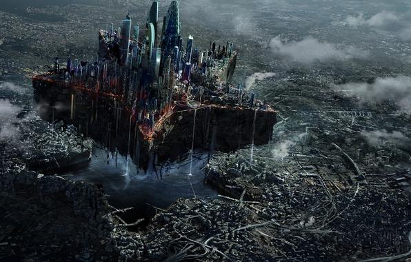 Картинка город, фантастика, звезда, москва, небоскребы, арт, разрушение, руины, мегаполис