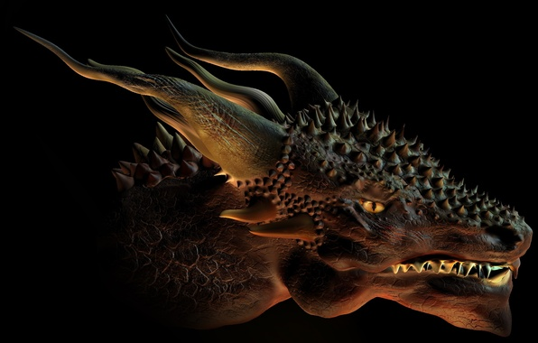 Картинка фантастика, дракон, арт, рога, черный фон