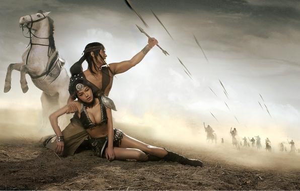 Картинка белый, девушка, конь, злость, усталость, мужчина, парень, фэнтази, стрелы, ранение, хвостик