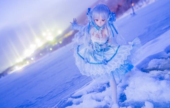 Картинка зима, снег, настроение, игрушка, кукла