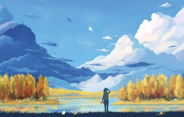 Картинка мечта, вода, облака, деревья, пейзаж, озеро, рисунок, девочка, art