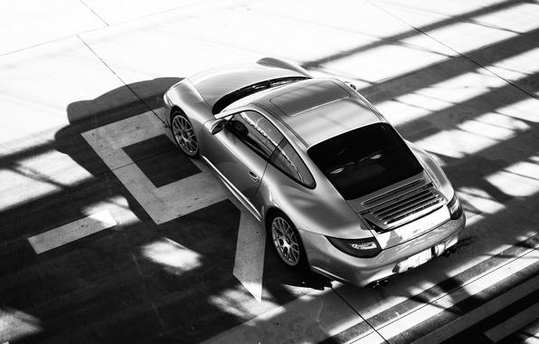 Картинка supercar, porsche, black and white, carrera