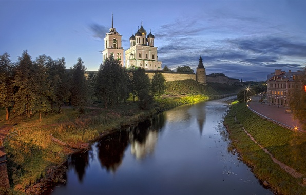 Картинка город, кремль, псков