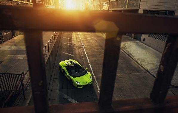 Картинка Roadster, Lamborghini, City, Chicago, Green, Front, Sunset, Downtown, LP700-4, Aventador, Supercar