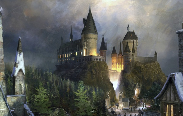 Картинка замок, фантастика, fantasy, hogwarts, хогвартс, Harry Potter, гарри поттер
