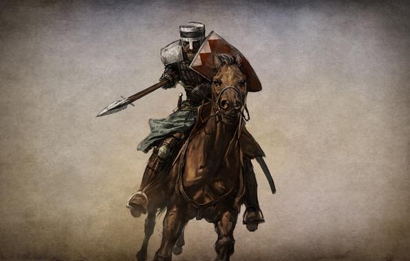 Картинка конь, игра, воин, арт, рыцарь, его, action, ролевая, RPG., Mount & Blade, история героя, единым, …