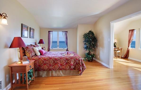Картинка комната, океан, вид, кровать, растения, подушки, покрывало, спальня