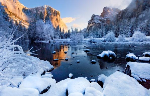 Картинка зима, лес, снег, закат, горы, туман, река, лёд, Пейзажи, Yosemite National Park
