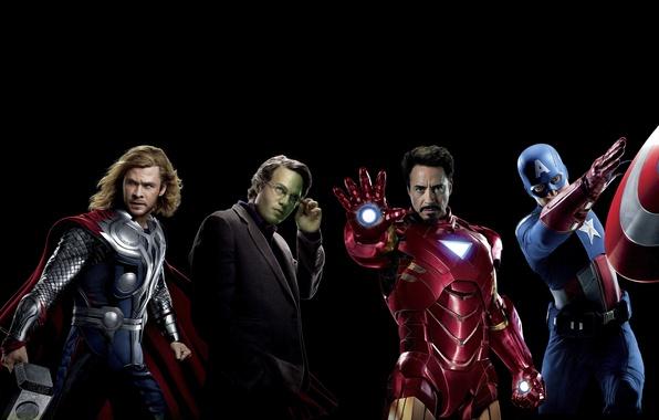 Картинка фантастика, черный фон, Hulk, Iron Man, комикс, Captain America, супергерои, Thor, Крис Эванс, Крис Хемсворт, …