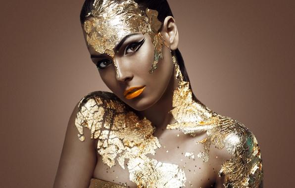 Картинка gold, model, look