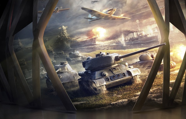 Картинка Самолеты, Корабли, Танки, Game, World of Tanks, World of Warplanes, T-34-85, World Of Warship