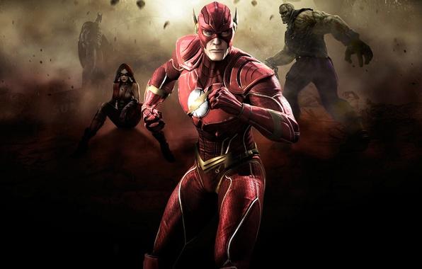 Картинка batman, flash, fighting, Harley Quinn, Injustice: Gods Among Us, Solomon Grundy
