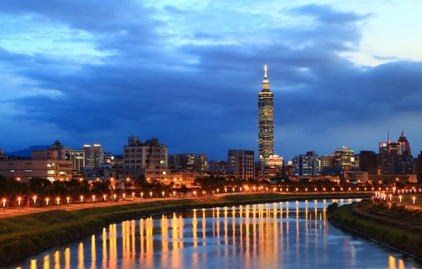 Картинка небо, свет, тучи, city, город, lights, огни, отражение, река, China, вечер, фонари, Китай, Тайвань, river, …