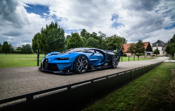 Картинка машина, небо, деревья, вид, Bugatti, Vision, бугатти, гиперкар, Gran Turismo, агрессивный