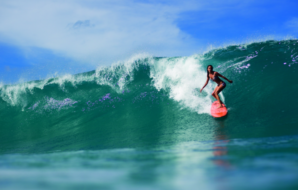 Картинка девушка, океан, спорт, волна, серфинг, доска, surfing