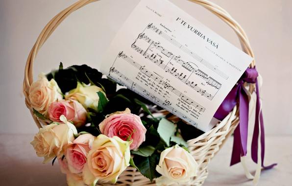 Картинка цветок, цветы, ноты, музыка, корзина, розы, букет, лента, бант, корзинка