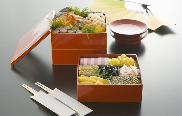 Картинка зелень, коробка, еда, рыба, овощи, оливки, блюдце, чашечка, морепродукты