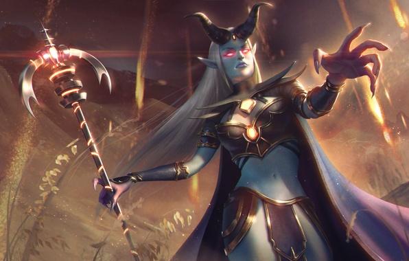 Картинка девушка, рога, маг, hon, art, Heroes of Newerth, prophet, Amadea, Prophet of the Damned