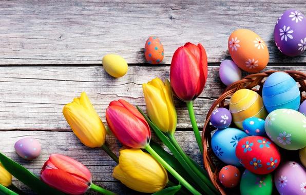 Картинка цветы, праздник, доски, яйца, Пасха, тюльпаны, корзинка, Easter, крашенки