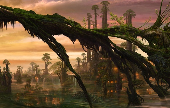 Картинка вода, деревья, огни, дракон, болото, существо, арт, хижины, ucchiey, kazamasa uchio