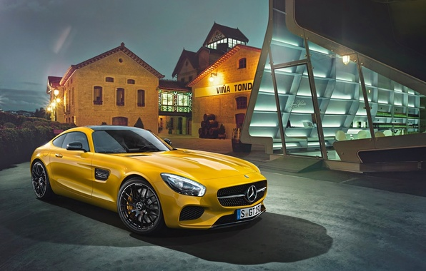 Картинка Mercedes-Benz, House, Front, AMG, Yellow, Supercar, 2015