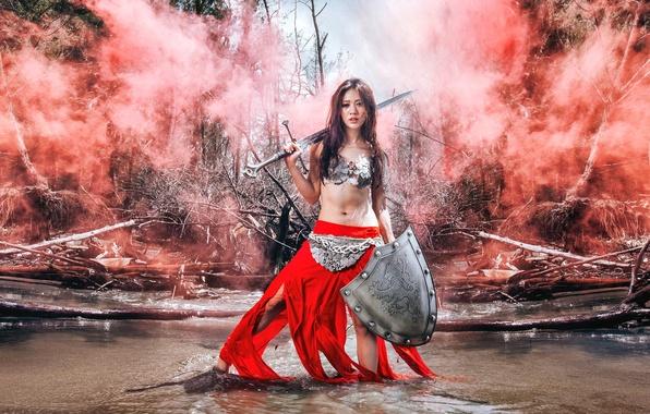 Картинка девушка, меч, щит