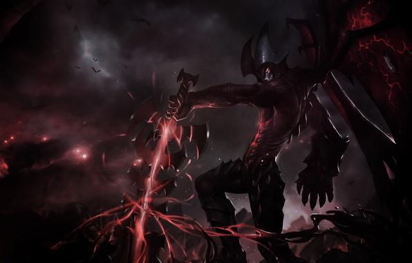 Картинка трещины, магия, темно, крылья, меч, арт, моснтр, League Of Legends, Aatrox
