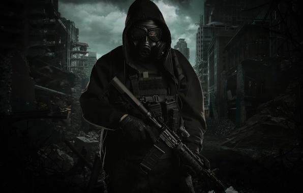 Картинка город, оружие, куртка, капюшон, разрушение, противогаз, мужчина, штурмовая винтовка