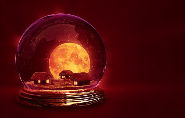 Картинка зима, снег, фон, праздник, обои, луна, новый год, шар, сказка, домики, wallpaper, домик, new year, …