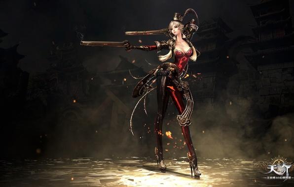 Картинка fire, red, flame, girl, sword, gun, pistol, rock, game, weapon, hat, woman, online, dust, ken, …