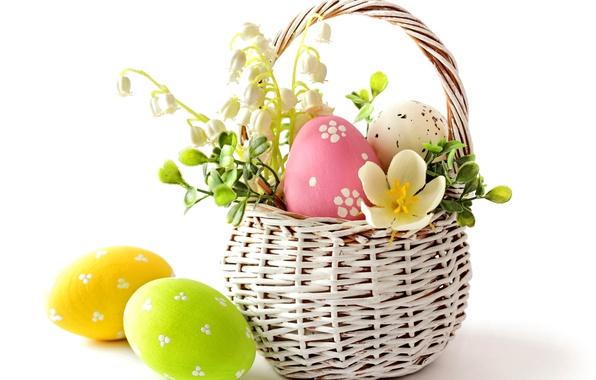 Картинка цветок, яйца, весна, пасха, корзинка