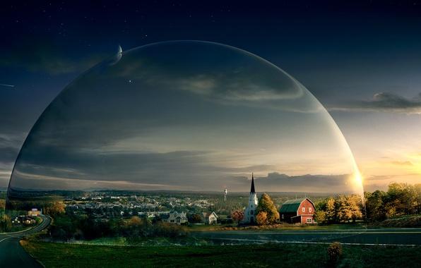 Картинка дорога, небо, церковь, сериал, купол, под куполом, under the dome