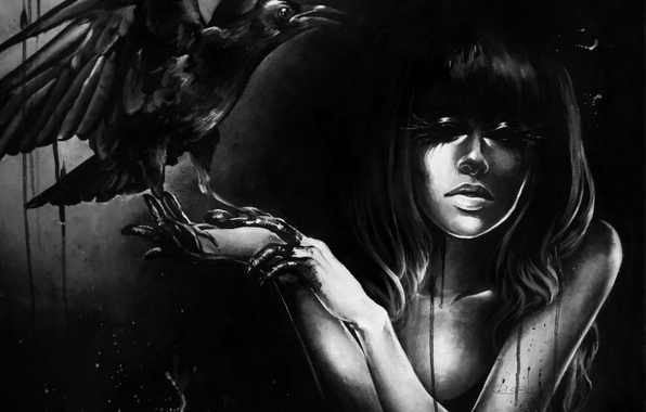Картинка девушка, стиль, арт, ворона