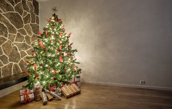 Картинка украшения, елка, свечи, Новый Год, Рождество, подарки, Christmas, Xmas, decoration, gifts, Merry