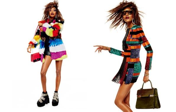 Картинка украшения, поза, стиль, коллаж, модель, одежда, макияж, ботинки, фигура, платье, очки, прическа, белый фон, мех, ...