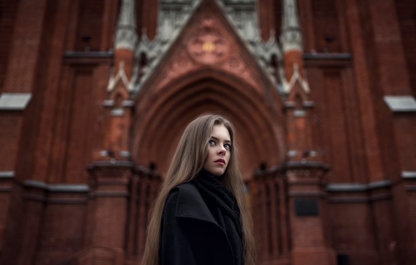 Картинка город, фото, арт, Москва, Катя, Gothic, composition, Maxim Guselnikov, Екатерина Кузнецова