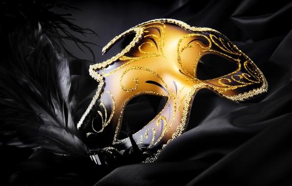 Картинка черный, перья, шелк, блестки, маска, золотая