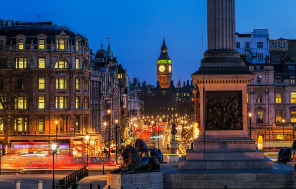 Картинка дорога, ночь, город, огни, улица, Англия, Лондон, здания, выдержка, фонари, Великобритания, Биг-Бен, архитектура, London, England, …