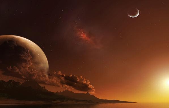 Картинка небо, вода, космос, облака, планеты