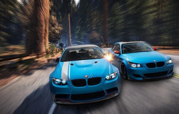 Картинка лес, BMW, искры, blue, front, E92, E60, Aksyonov Nikita Andreevich