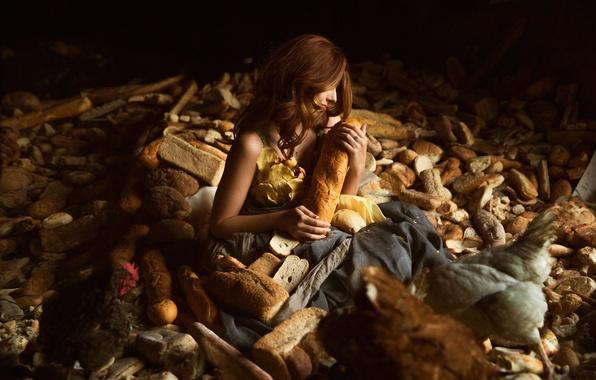 Картинка девушка, хлеб, Lichon, The bread company