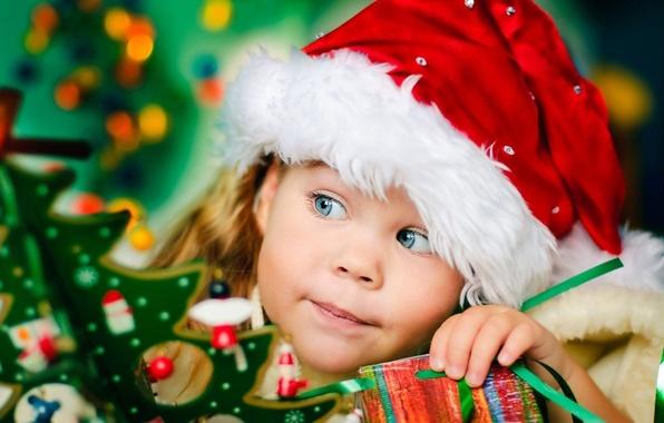 Картинка украшения, дети, праздник, новый год, девочка, подарки, новогодние