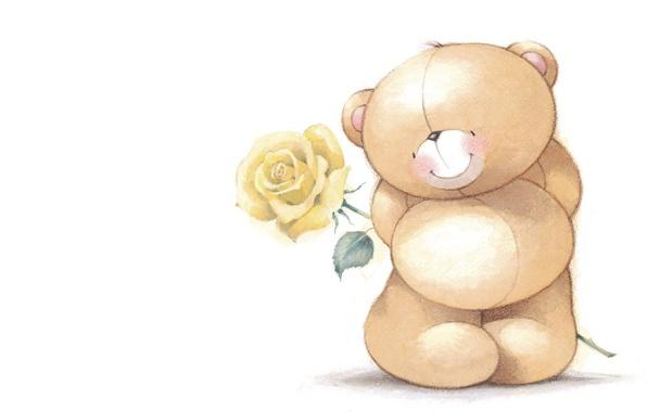 Картинка настроение, подарок, роза, арт, мишка, скромность, детская, смущение, Forever Friends Deckchair bear
