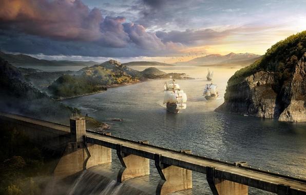 Картинка пейзаж, птицы, тучи, мост, река, скалы, корабли, дамба, парусники