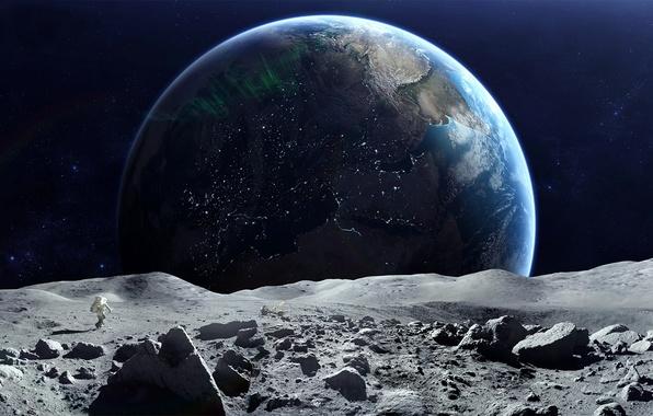 Картинка космос, земля, луна, планета, астронавт